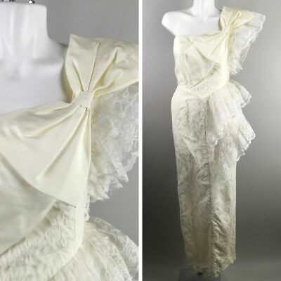Vtg 80s Contempo Casual White Lace One Shoulder Layered Wedding Dress Sz 7/8