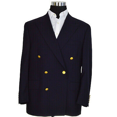 Chaps Mens Blazer 42S Navy Blue Six Button Double Breasted 100% Wool Canada