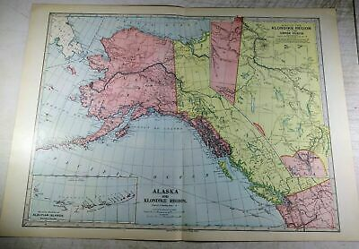 1899 Antique Map Alaska Klondike Region Aleutian Islands Upper Yukon 22.25x16.25