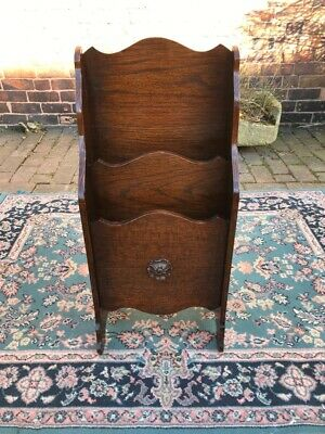 Arts & Crafts Oak Waterfall Magazine Rack/Stand, Circa Early 20th Century