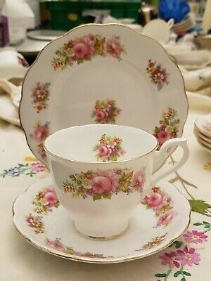 Vintage Royal Albert bone china Chatsworth pink rose florals teacup plate trio