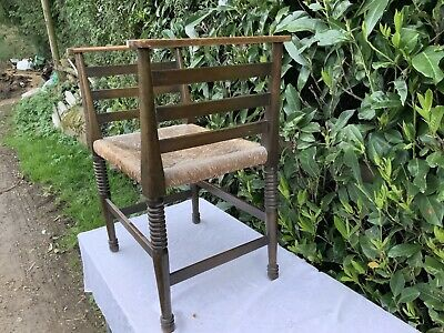 Antique Stool Seat Rattan Seat Country Oak