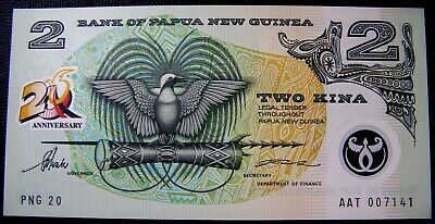 Bank of Papua New Guinea 20th Anniversary INDEPENDENCE  Two Kina Banknote  UNC