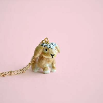 Hand Painted Spring Bunny Necklace Antique Gold Chain Ceramic Animal