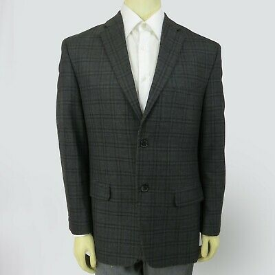 Hagger blazer suit jacket 40R gray madras pattern mens two button down