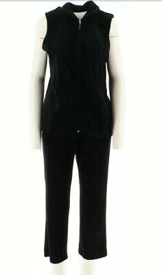 Denim & Co Zip Front Active Vest Pull-On Pants Velour Set Black XL