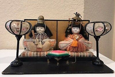Antique Girls Day Festival Japanese Dolls Emperor Empress with Background lamps
