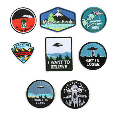 Iron On Clothes UFO Embroidered Patch Applique Spaceship Badges
