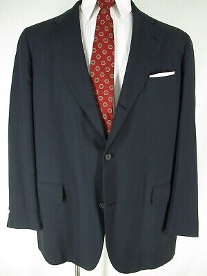 Brooks Brothers 346 Vtg Mens Navy 3 Btn Sack Suit 46L Trad Ivy
