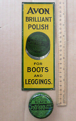 Old Antique  Avon Boot Polish Tin And Finger Plate Sign