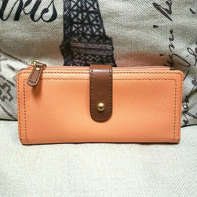 FOSSIL Tilly Saffiano Leather Coral Orange Long Bifold Clutch Wallet Organizer