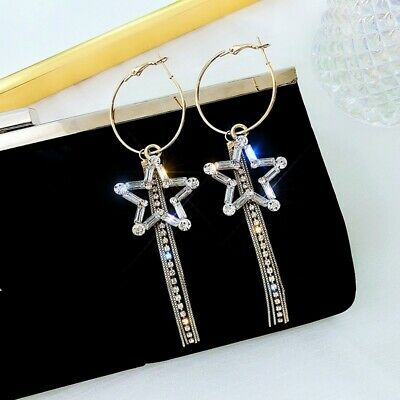 Exquisite Star Crystal Long Chain Earrings Full Rhinestone Tassel Dangle Earring