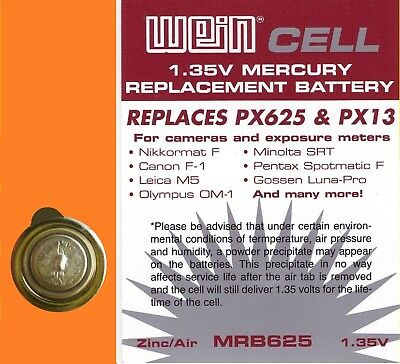 RICAMBIO PX 625 PX13 MR9 BATTERIE ZINCO//ARIA 1,35 V WeinCell MRB 625