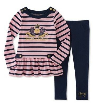 [BNWT] Juicy Couture Pink and Navy Stripe Ruffle-hem Top & Leggings Girl Size 4