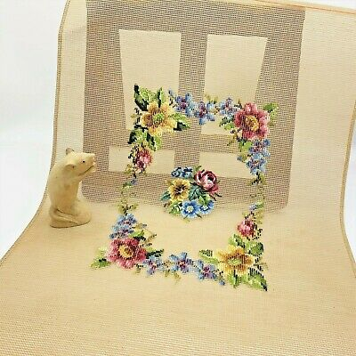 Floral Bouquet Trammed Tapestry, Large Canvas with Worked Petit Point Centre
