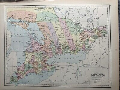 1874 Ontario Canada Large Colour Antique Map By John Bartholomew