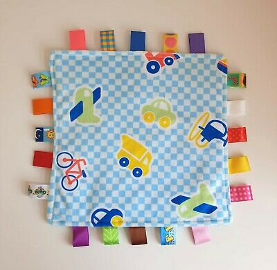 Super Soft Baby Boy Newborn Cars Blue Taggie Taggy Blanket Comforter Gift