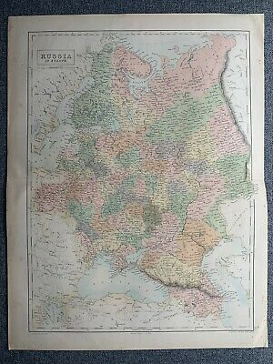 1865 Russia In Europe Large Colour Antique Map 155 Years Old