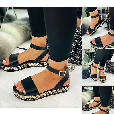 New Womens Platform Sandals Ladies Ankle Strap Stud Buckle Summer Shoes Size 3-8