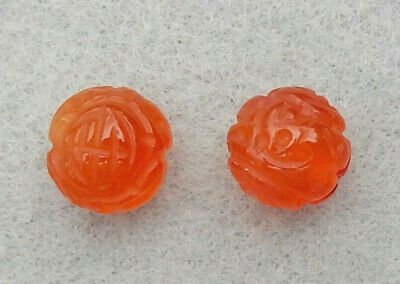 2 VINTAGE CHINESE HAND CARVED CARNELIAN SHOU BEADS 12mm***FREE SHIPPING***