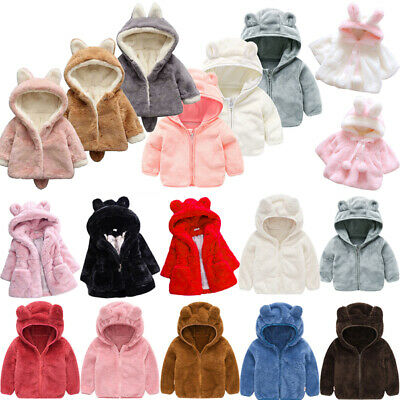 Kids Girls Teddy Bear Faux Fur Hooded Coat Winter Warm Jacket Overcoat Outwear