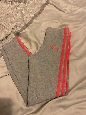 Girls Adidas Leggings In Grey & Pink Size - Age 9-10 Years - Good Condition