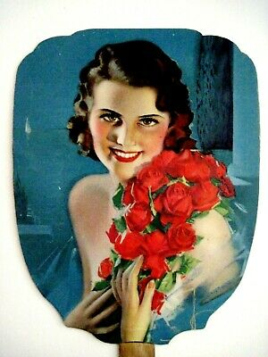 "Charming Vintage Advertising Fan w/ Lovely Pin-Up by ""Rolf Armstong""  *"