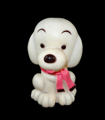 Cute Vintage White Plastic Snoopy Style Dog Wearing A Scarf Coin Still Bank