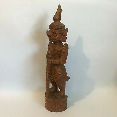 Rare Antique Carved Wood Asian Chinese Warrior Figure Statue 17 3/4""