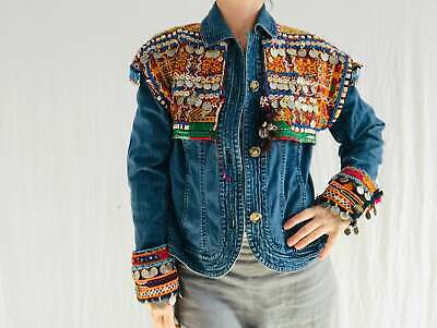 Vintage Balochi Repurposed Denim Jacket. Size M. Embroidered Beaded and Coined