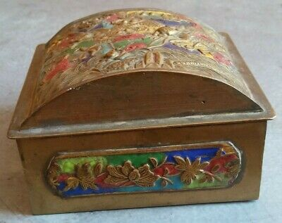 China Antique Cloisonne Brass Box of Dragon  铜 盒