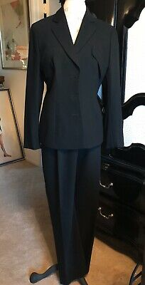 Giorgio Armani Black 2 Piece Pant Suit Size 10 Made In Italy