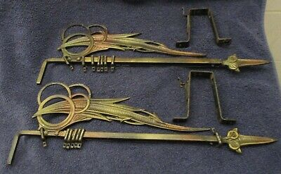 Vintage Art Deco Wrought Iron Swing Curtain Rods with Hardware