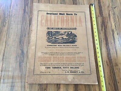 Oregon StageCoach Line Overland Mail Route to California Advertisement Cardboard