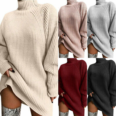 Women Turtle Neck Sweater Mini Knitted Dress Casual Tunic Jumper Pullover Blouse