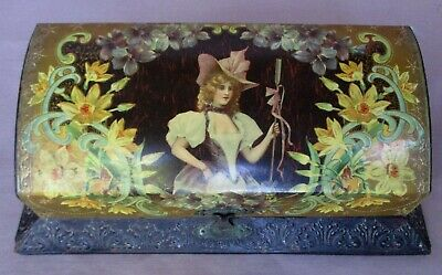 Antique Victorian Style Paper Covered Wood Vanity Box Pretty Lady & Flowers