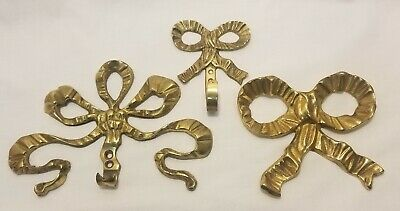 Set of 3 Vintage Solid Brass Bow Ribbon Decorative Wall Art Hooks Made in India