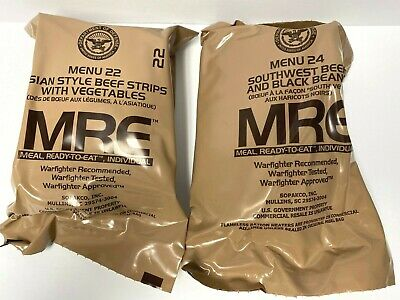 Military Food Rations Individual MREs Meals,Ready to Eat, Menu 22 & Menu 24