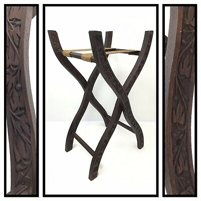 Decorative Hand-Carved Antique Wooden Folding Luggage Suitcase Tray Valet Stand