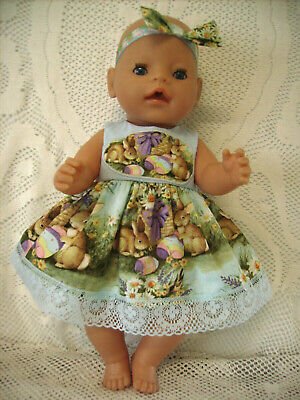 """Dress For 16"""" Baby Born Doll. Baby Blue, Easter Bunnies, Eggs, Headband & Lace."""