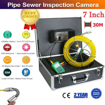 "30M 98FT IP68 Waterproof Drain Pipe Sewer Inspection HD Camera 7"" LCD 1000 TVL"