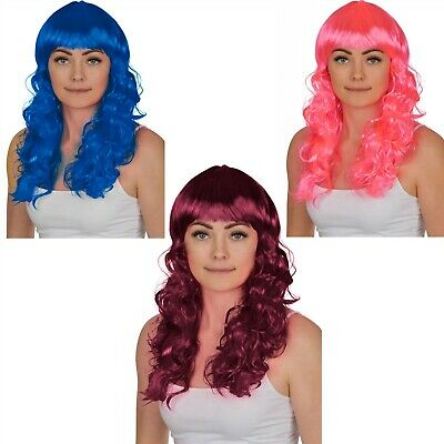 Ladies Long Wavy Wigs Pink Wine Red Blue Fancy Dress Costume Wigs Cosplay Witch
