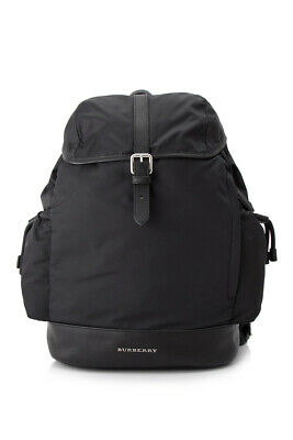 Pre-Owned Burberry Watson Diaper Backpack (Black; Nylon, Cow Grain Leather)