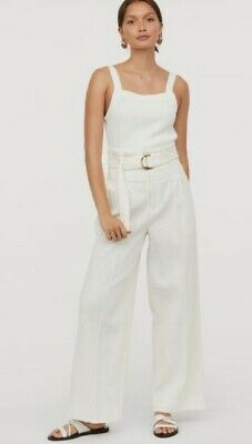 H&M White Thick Corduroy Wide Leg Long High Waist Trousers Trend Blogger