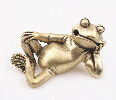 Rare Chinese Old Bronze hand Casting Frog statue Netsuke collectable Gift