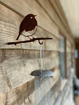 METAL SILHOUETTE BIRD FEEDER HANGERS SCREW IN METAL BIRD robin with chick