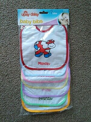 PACK OF 7 Baby Bibs Days of the week .. mixed Suitable For 0-+ months