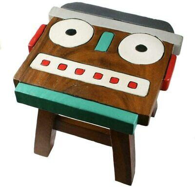 Robot Head Fun Hand Carved & Painted Wooden Stool / Footstool