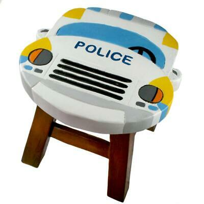 Police Car Shape Hand Carved & Painted Wooden Stool / Footstool Great For Child