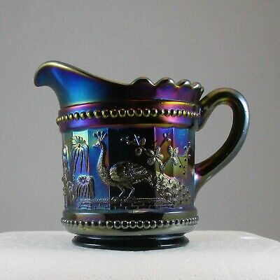 Northwood Peacock At The Fountain Amethyst Carnival Glass Creamer    Bw0093